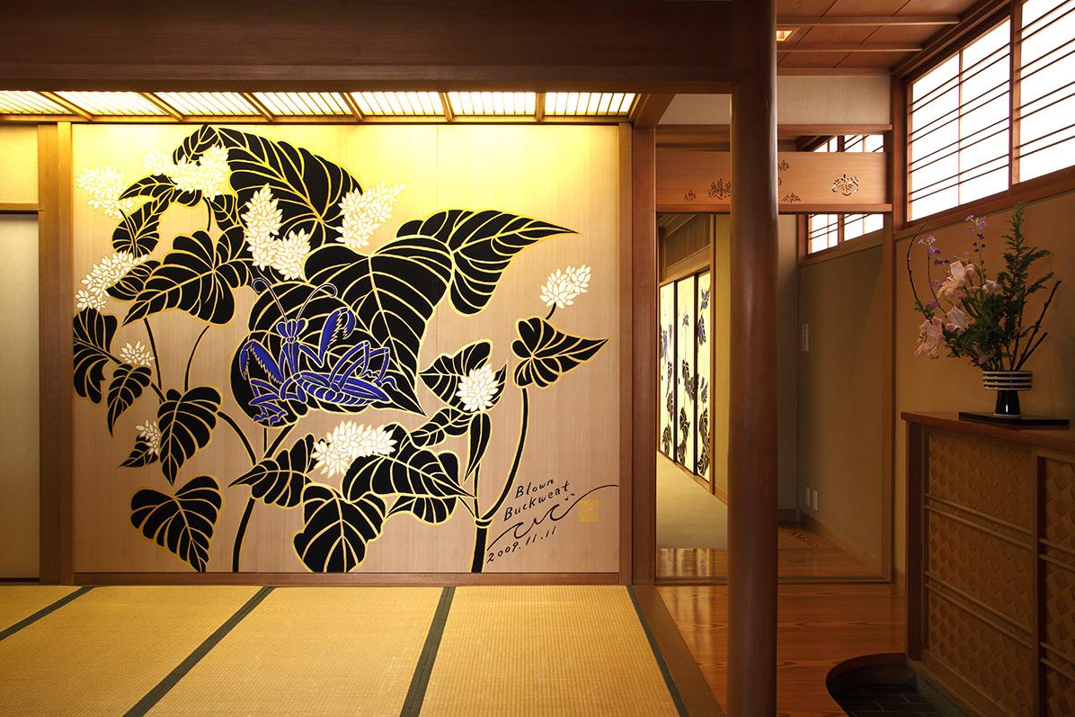 washoku, gontaro kyoto, Japanese food,Ki-Yan, Japanese art, Ki-Yan's Kyoto Food & Art, praying mantis, mural