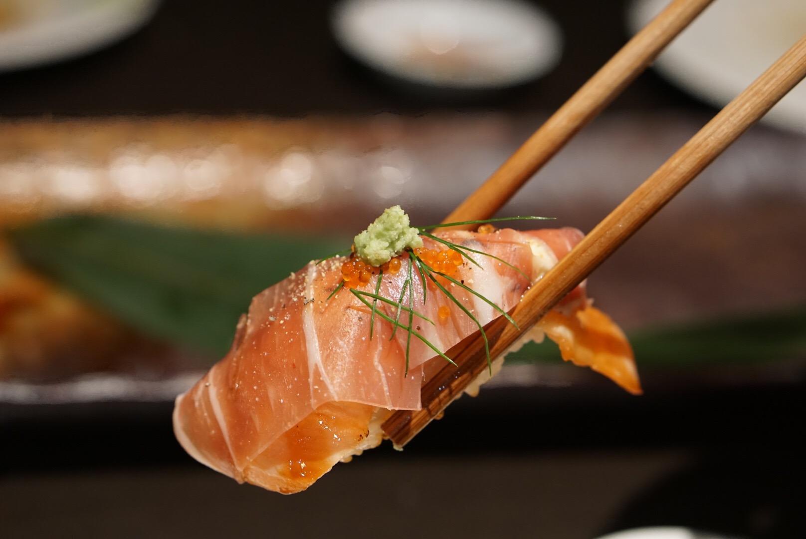 Nigiri sushi, aburi salmon, at Toshiya, Cremorne