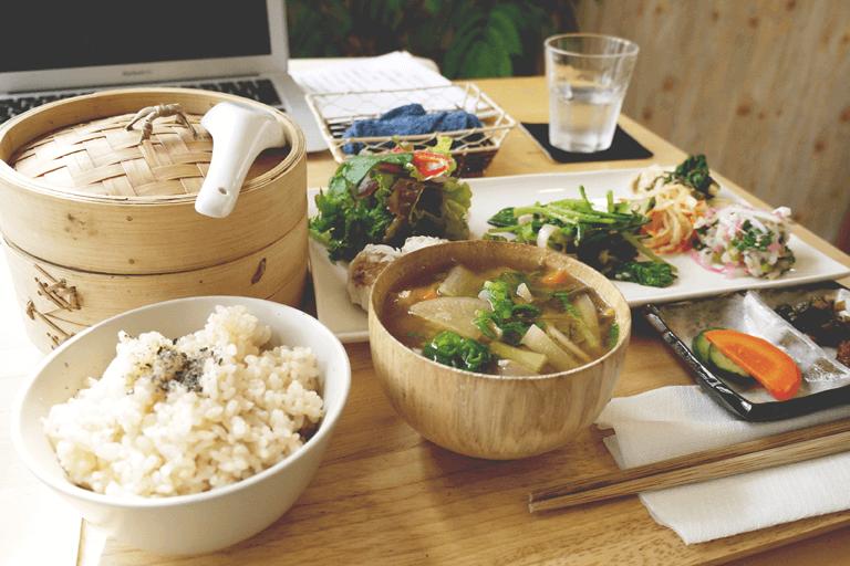 Japanese food, well balanced meal