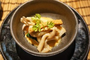 Seasonal vegetable Ohitashi: Shimeji mashroom, Spinach, Bomboo shoot, Deep fried Tofu in dashi & soy