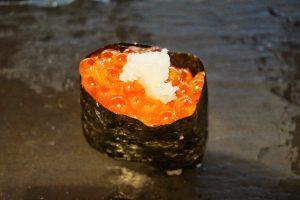 Smoked salmon roe, grated daikon radish.